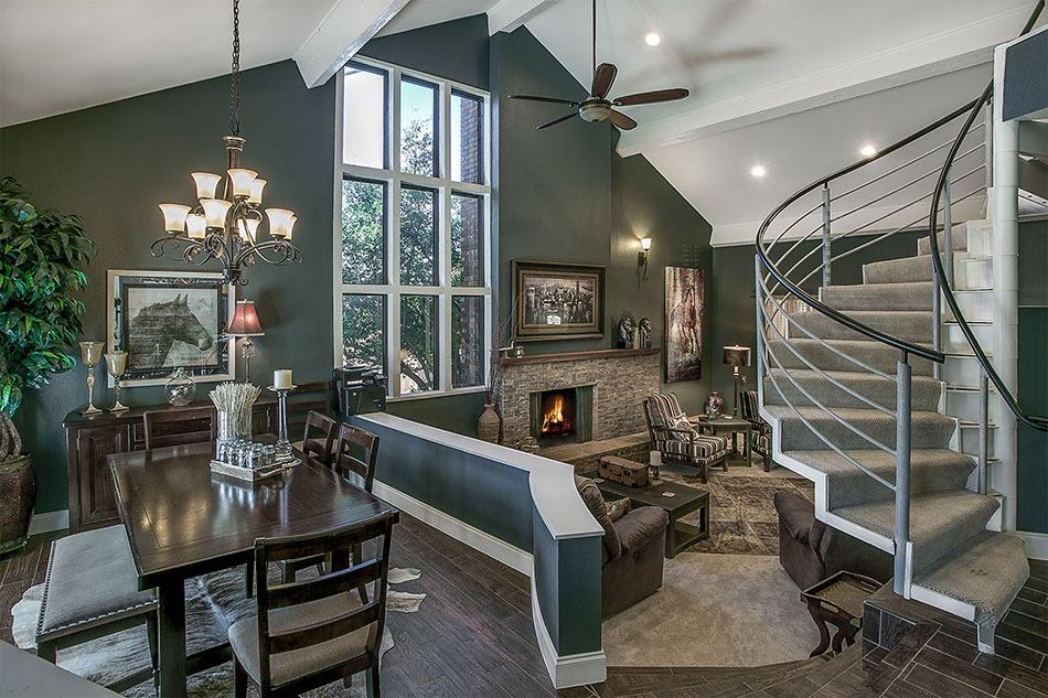Quail Creek sunken dining and living rooms by OLife Photography.